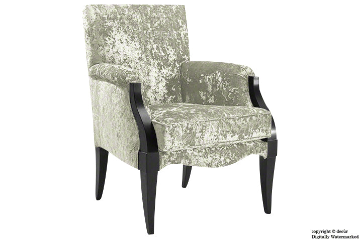 Art Deco Crushed Velvet Arm Chair - Pearl