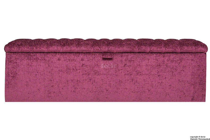 Viscount Chesterfield Chenille Ottoman - Mulberry