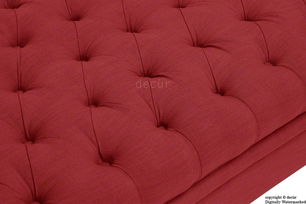 Amy Buttoned Linen Modern Tufted Footstool - Red