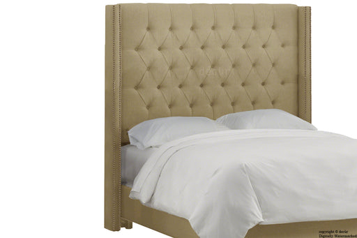 Balmoral Buttoned Linen Winged Headboard - Mink
