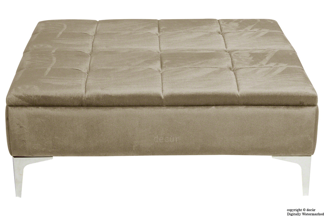 Mila Modern Buttoned Velvet Footstool Large - Putty with Optional Storage