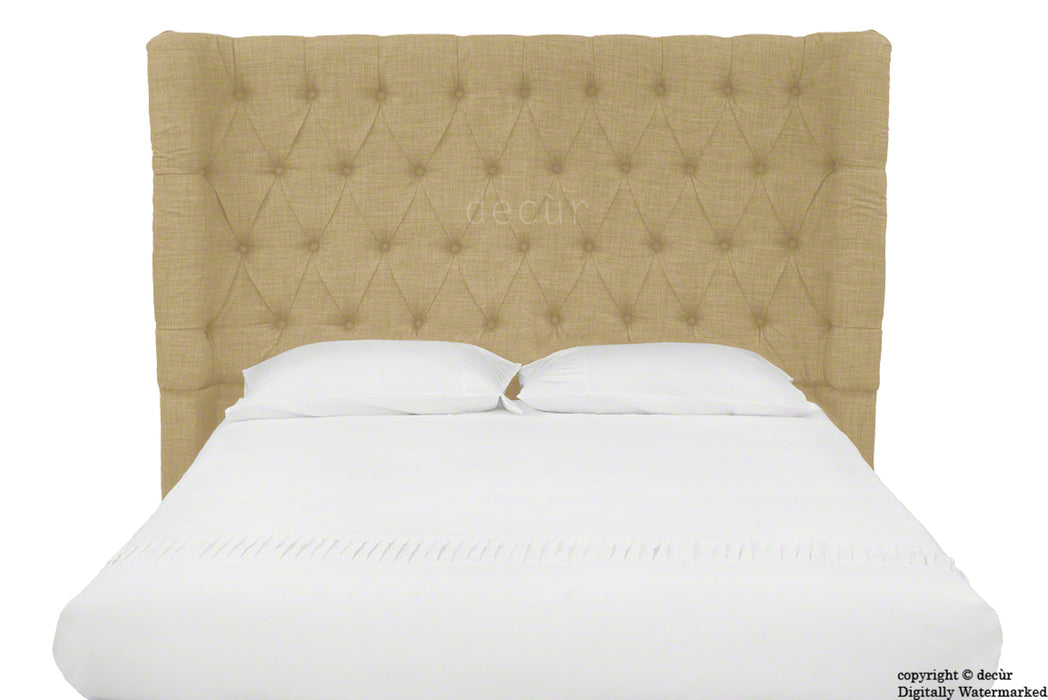 Hollyrood Buttoned Linen Winged Headboard - Honey