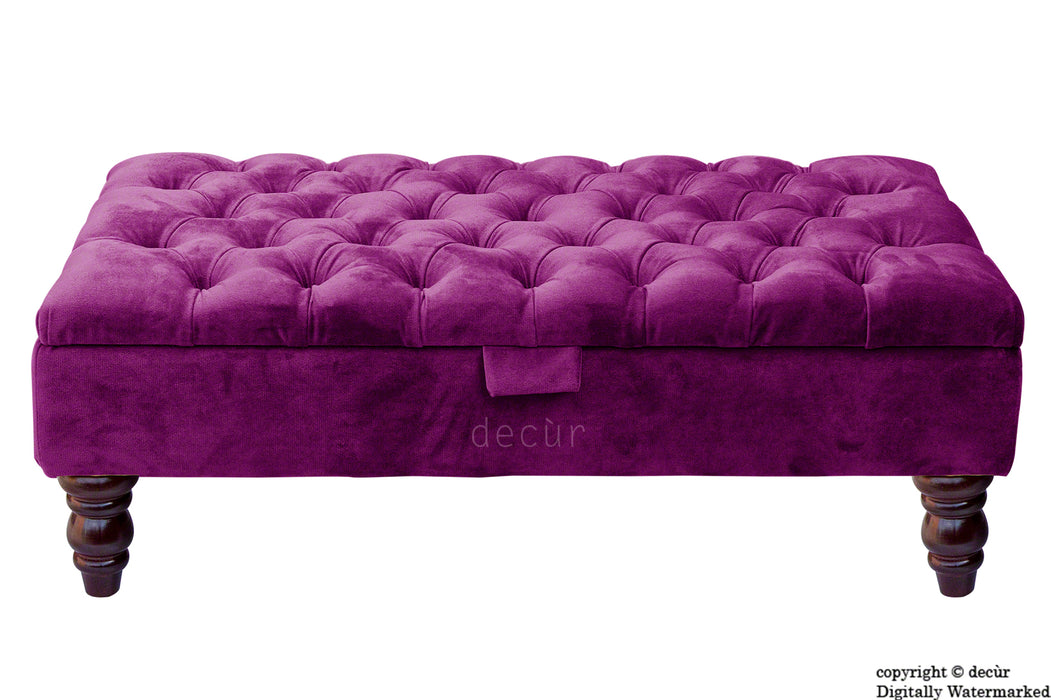 Tiffany Buttoned Velvet Footstool - Boysenberry with Optional Storage