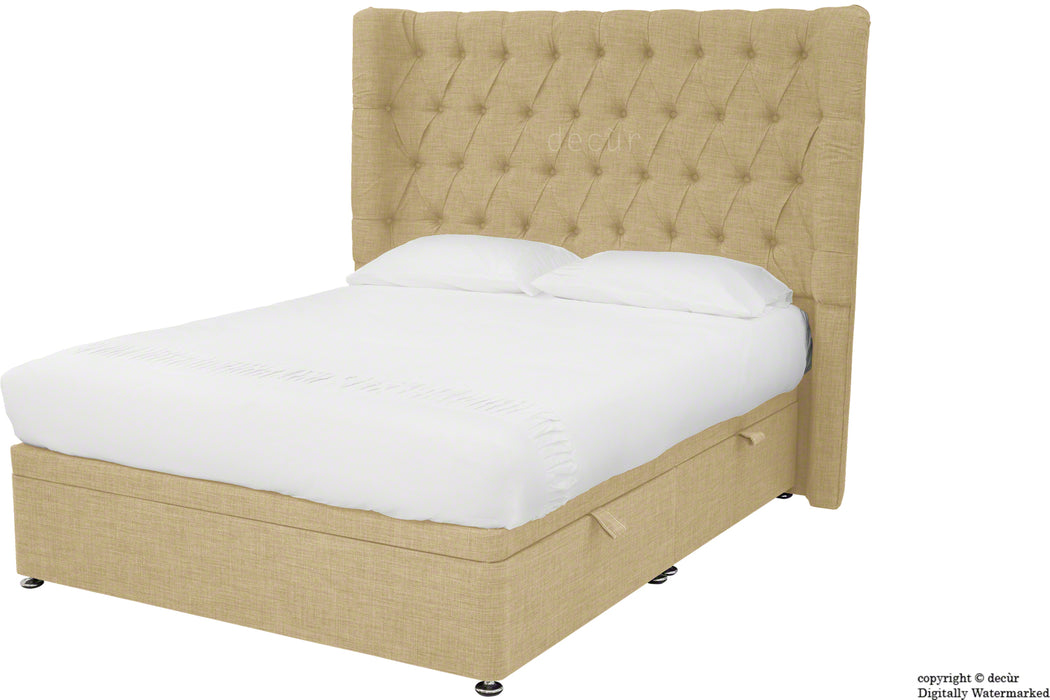 Hollyrood Linen Upholstered Winged Ottoman Bed - Honey