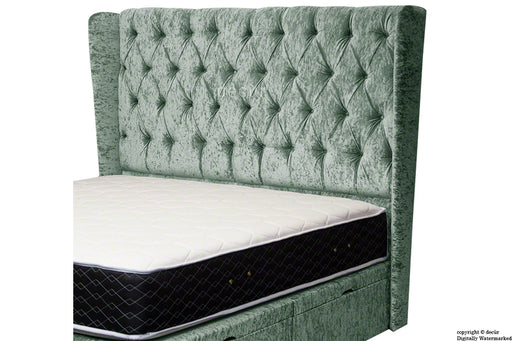 Eliza Winged Buttoned Crushed Velvet Headboard - Forest