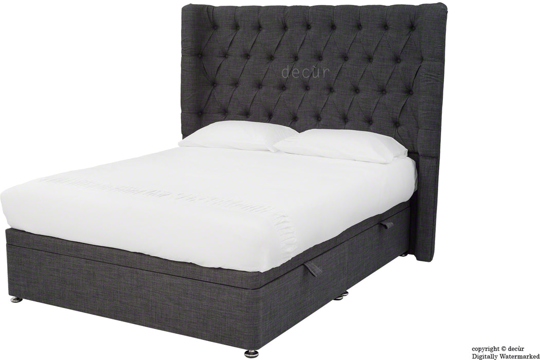 Hollyrood Linen Upholstered Winged Ottoman Bed - Charcoal