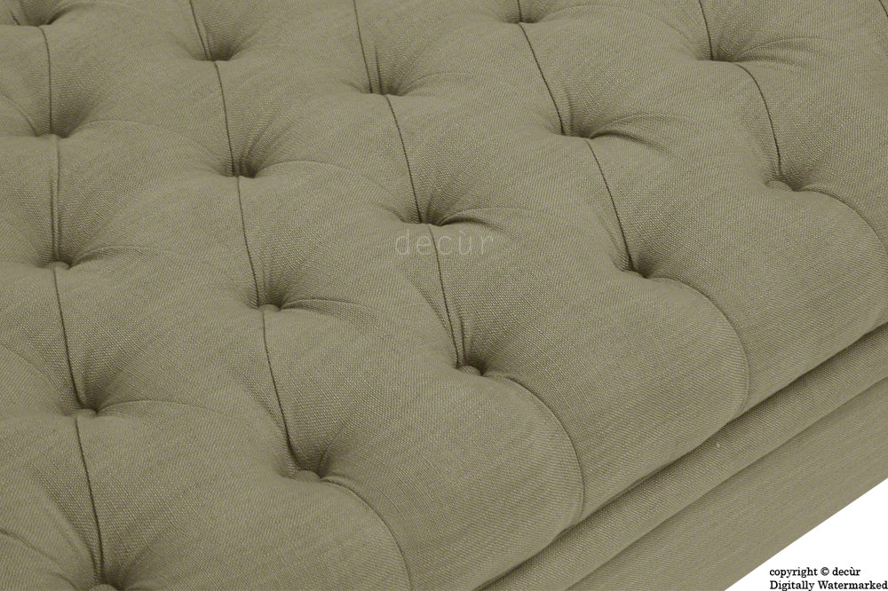 Amy Buttoned Linen Modern Tufted Footstool - Camel