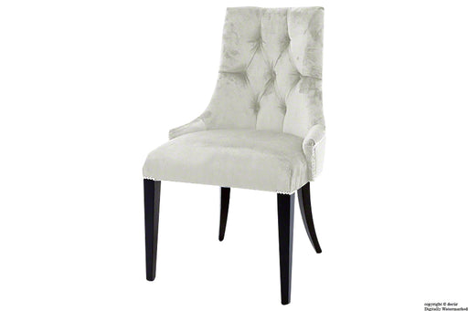 Magdalin Deep Buttoned Velvet Dining Chair - Cream
