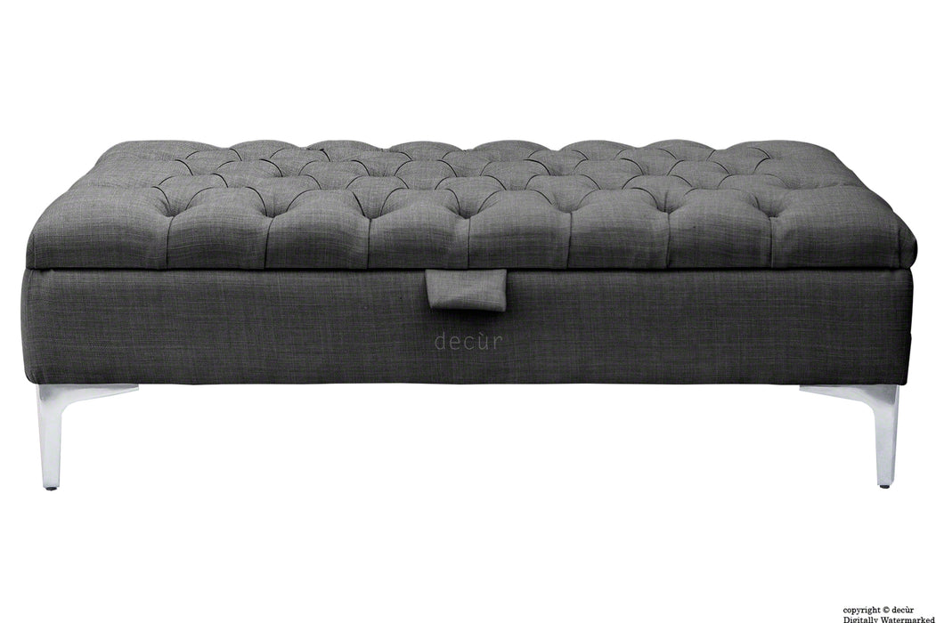 Tiffany Modern Buttoned Linen Footstool - Charcoal with Optional Storage