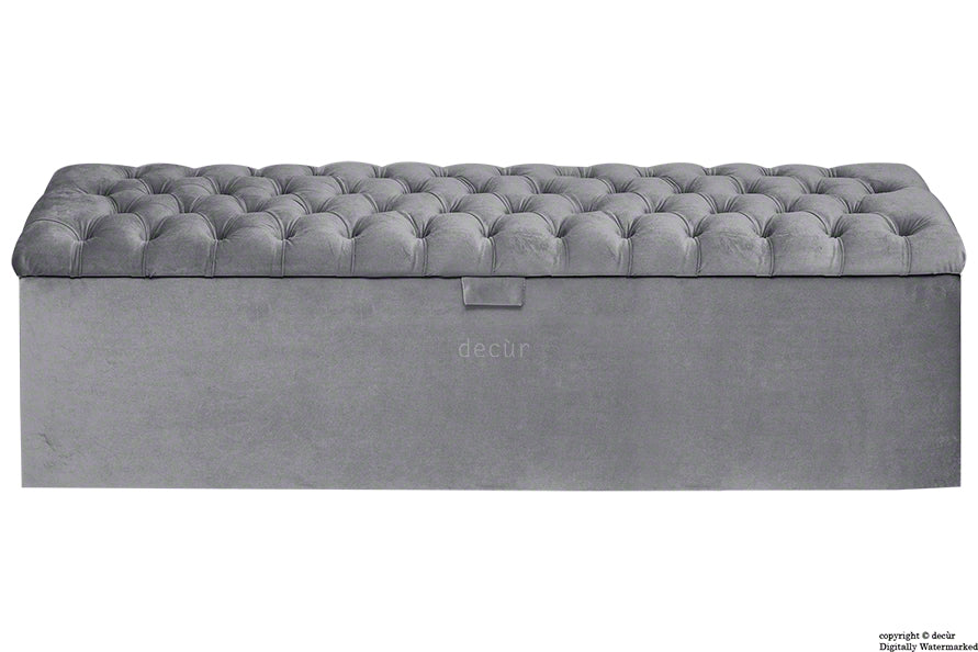 Viscount Chesterfield Velvet Ottoman - Seal