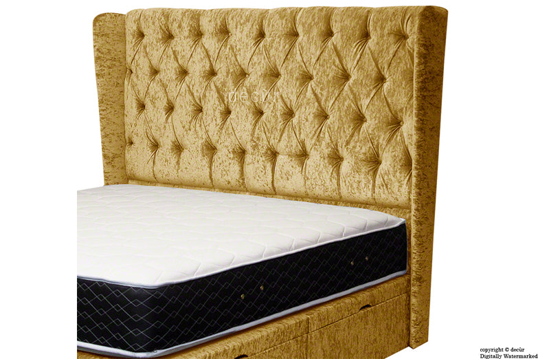 Eliza Winged Buttoned Crushed Velvet Headboard - Gold