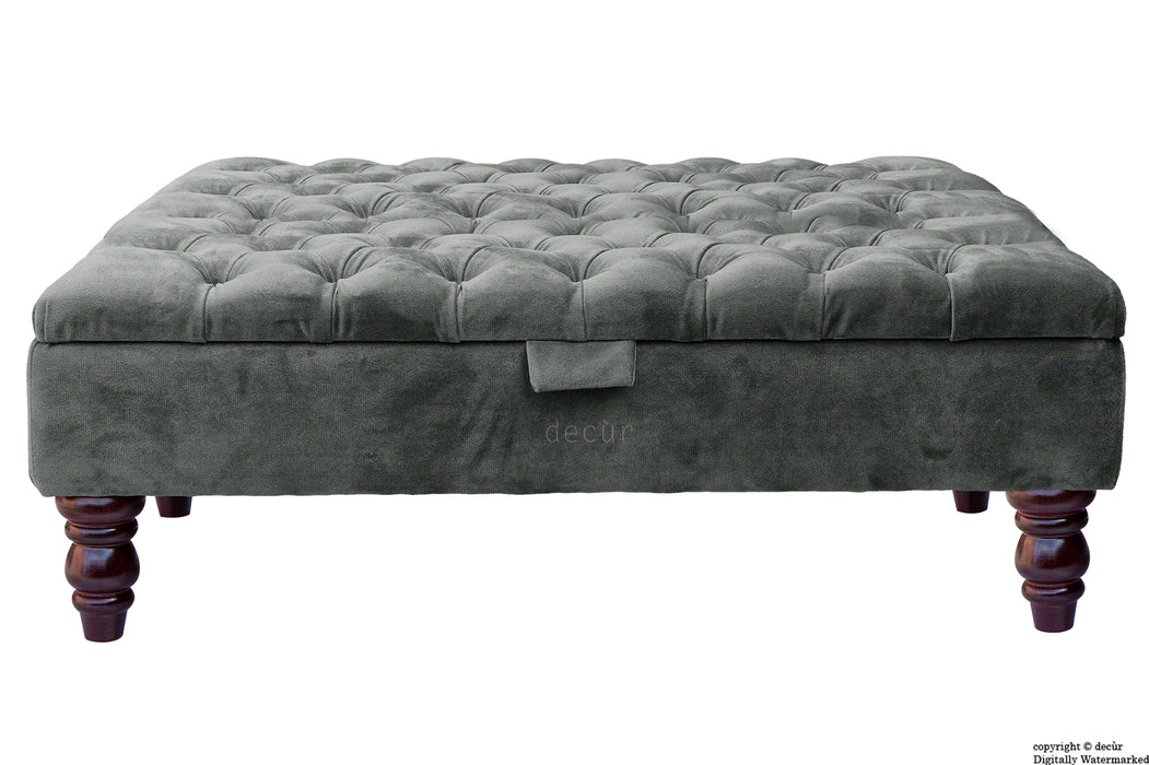 Tiffany Buttoned Velvet Footstool Large - Slate with Optional Storage