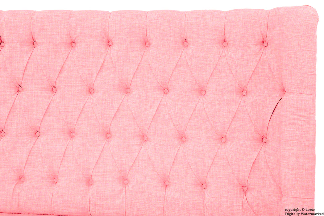 Hollyrood Buttoned Linen Winged Headboard - Pink