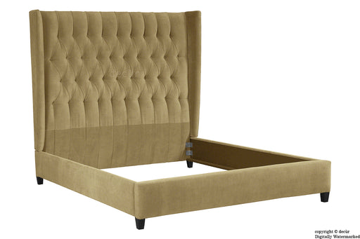 Adlington Velvet Upholstered Winged Bed - Parchment