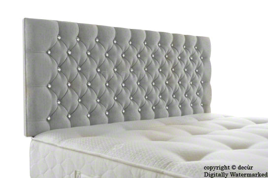 Tiffany Harrogate Buttoned Chenille Velvet Headboard - Silver Grey