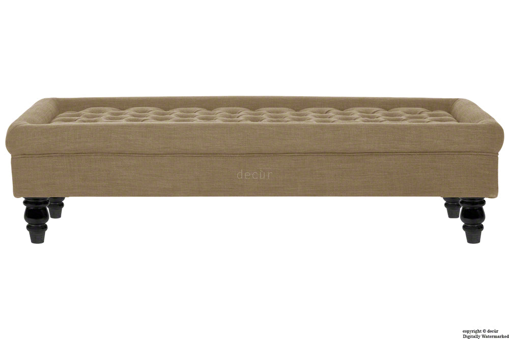 Cavendish Buttoned Linen Footstool - Chocolate