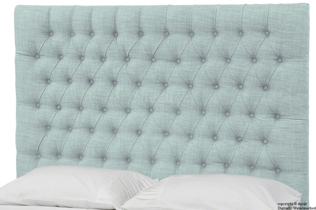 Kensington Linen Upholstered Ottoman Bed - Sky Duck Egg Blue