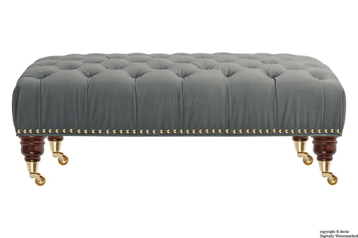 Catherine Buttoned Velvet Footstool - Slate with Optional Storage