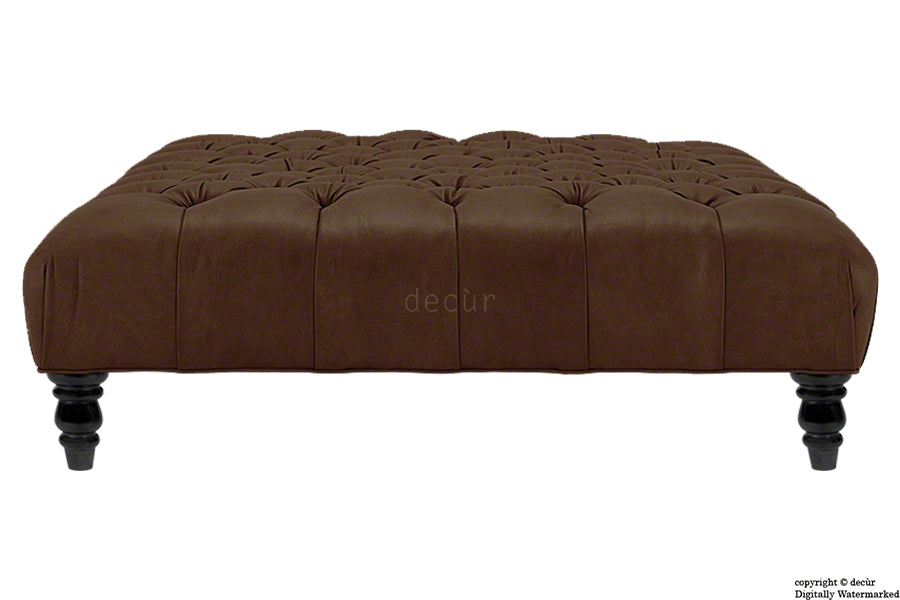 Tiffany Buttoned Faux Leather Footstool - Brown with Storage Option