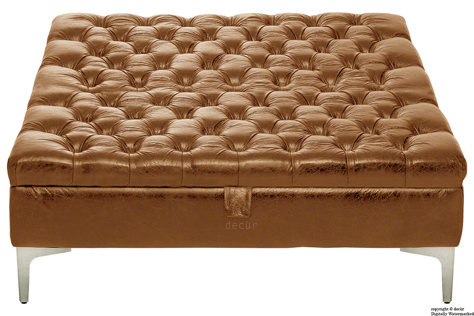 Wraith Leather Vintage Footstool Large - Sherry