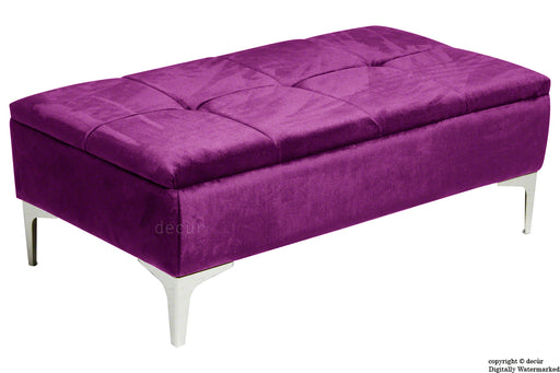 Mila Modern Buttoned Velvet Footstool - Boysenberry with Optional Storage
