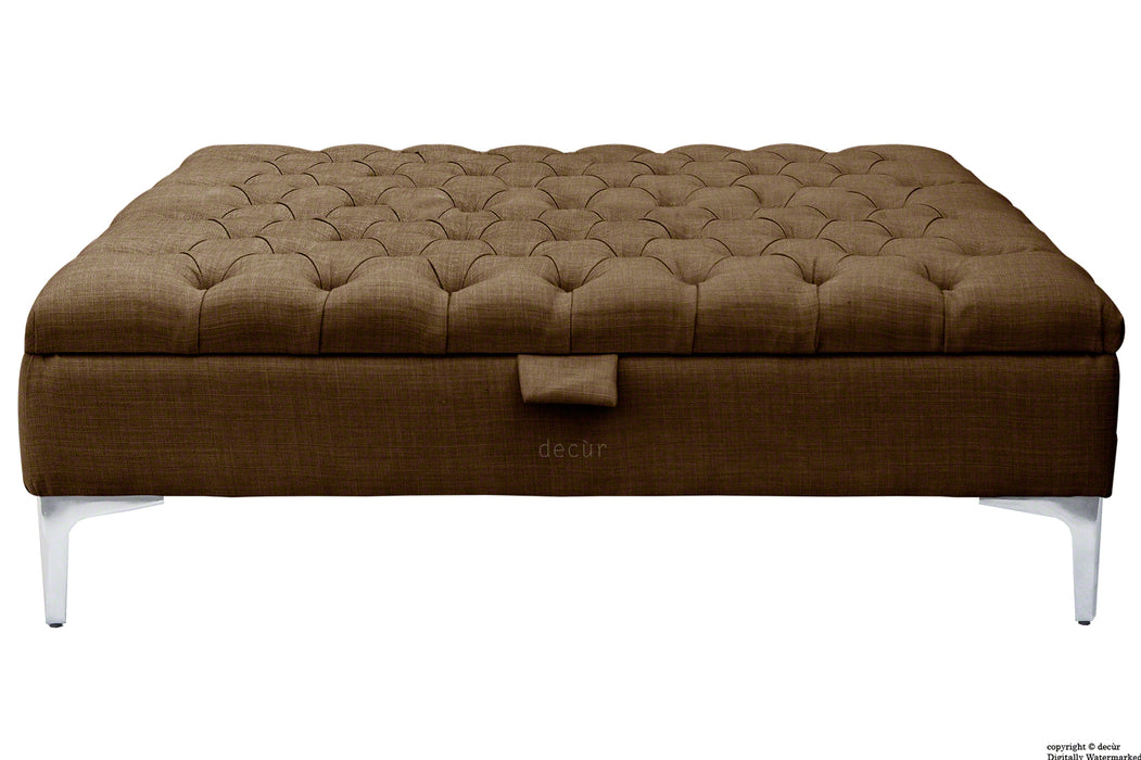 Tiffany Modern Buttoned Linen Footstool Large - Brown with Optional Storage