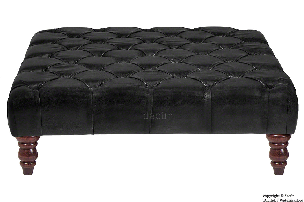 Cecil Buttoned Leather Footstool - Black