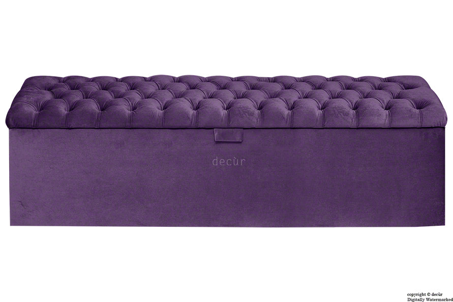 Viscount Chesterfield Velvet Ottoman - Amethyst