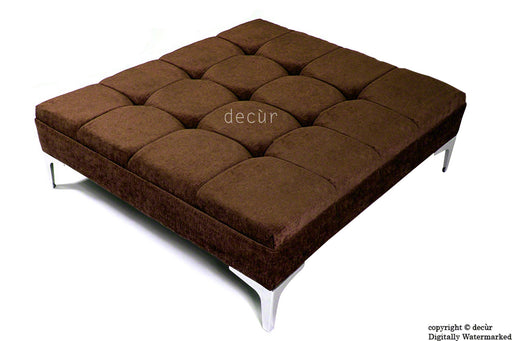 Mila Large Buttoned Footstool - Brown with Optional Storage