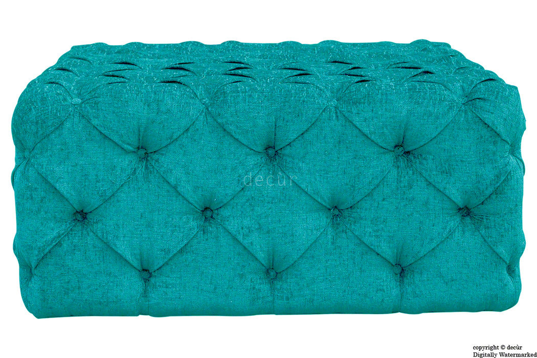 Ralph Buttoned Chenille Ottoman - Teal
