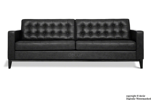 Jasper Leather Sofa - Black
