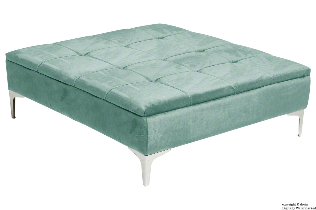 Mila Modern Buttoned Velvet Footstool Large - Seaspray with Optional Storage