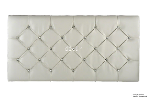 Boutique Crystal X Series Headboard- White Faux Leather