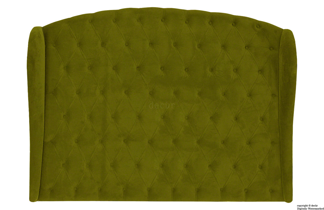 William Buttoned Winged Velvet Headboard - Grass