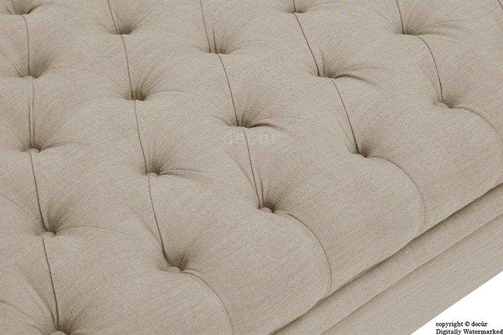 Amy Buttoned Linen Modern Tufted Footstool - Sand