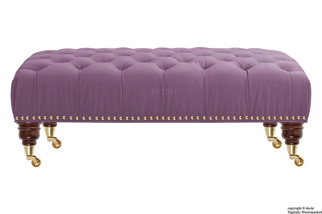 Catherine Buttoned Velvet Footstool - Lavender with Optional Storage