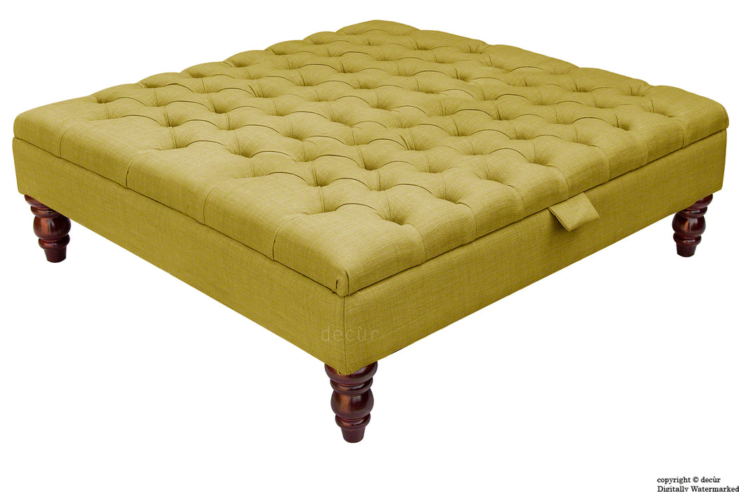 Tiffany Buttoned Linen Footstool Large - Olive with Optional Storage