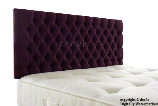 Tiffany Harrogate Buttoned Chenille Headboard - Aubergine