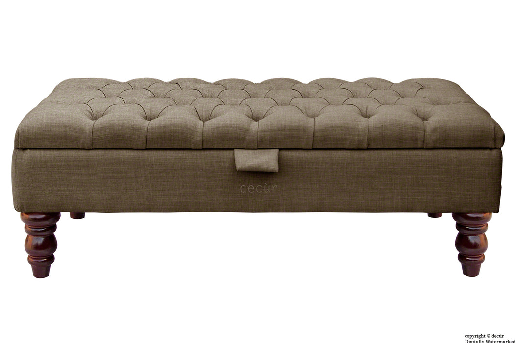 Tiffany Buttoned Linen Footstool - Nutmeg with Optional Storage