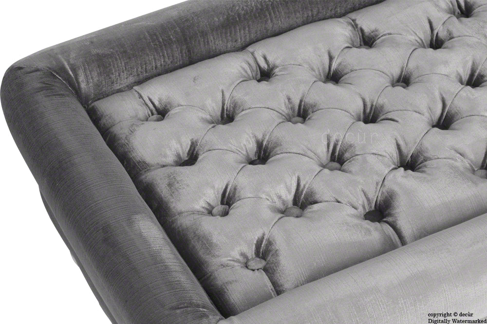 Cavendish Buttoned Velvet Footstool - Seal