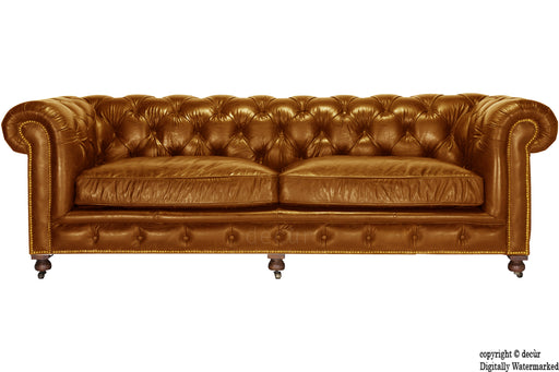 Edward Chesterfield Leather Sofa - Tan