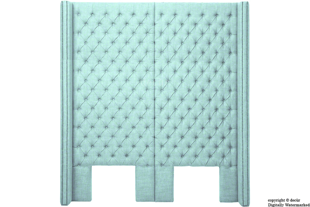 Beauchamp Buttoned Courtyard Linen Headboard Sky Duck Egg Blue