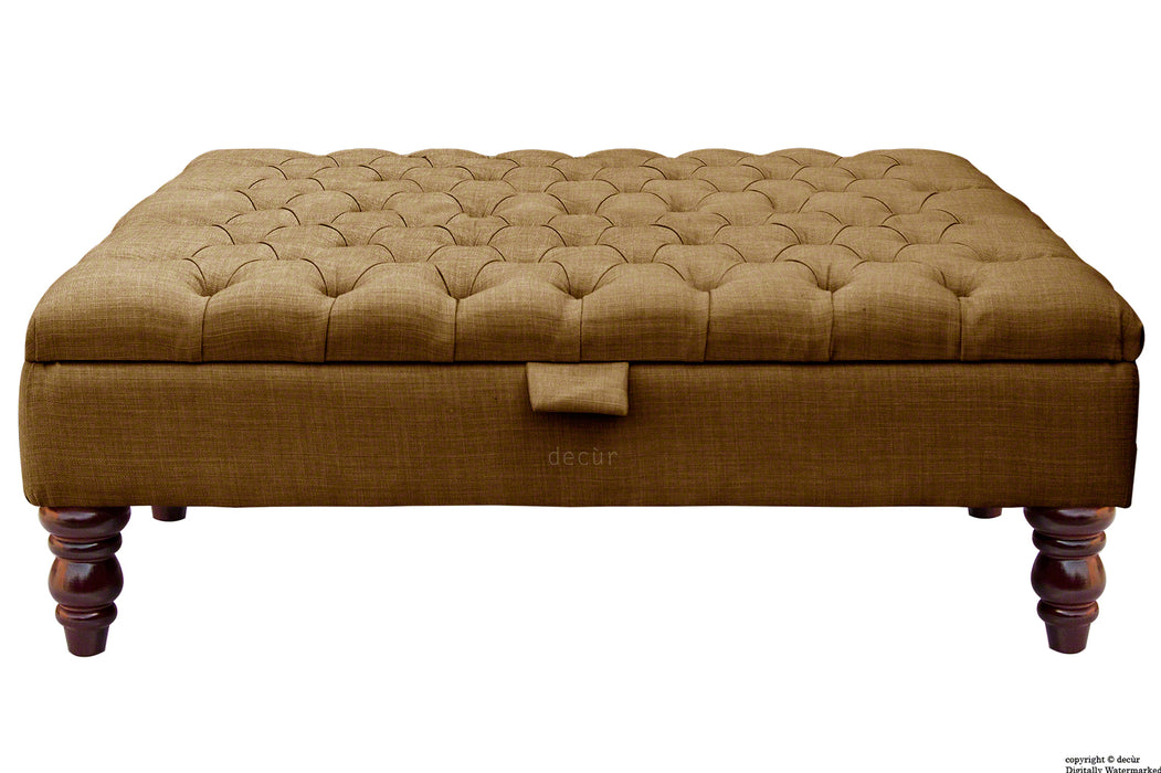 Tiffany Buttoned Linen Footstool Large - Coffee with Optional Storage