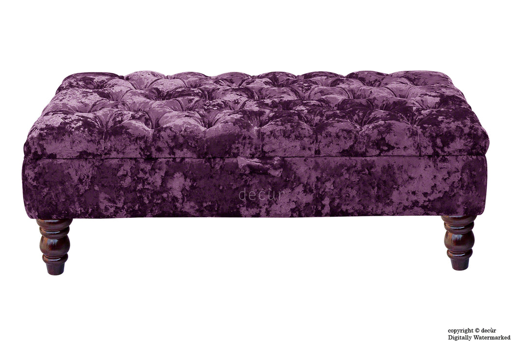 Tiffany Buttoned Crushed Velvet Footstool - Amethyst with Optional Storage