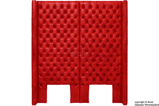 Beauchamp Buttoned Courtyard Leather Headboard Red