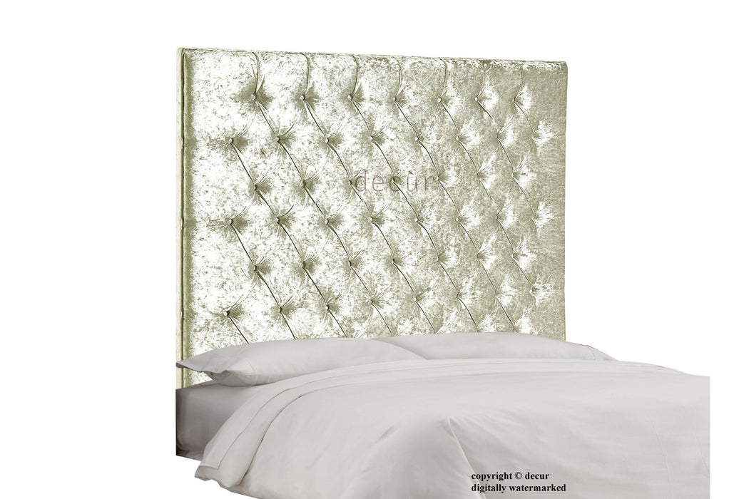 Tiffany Harrogate Buttoned Wall Crushed Velvet Headboard - Pearl
