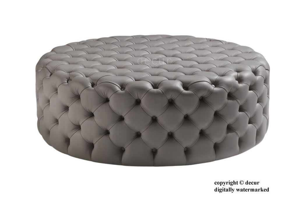 Round Leather Buttoned Ottoman / Footstool - Forge