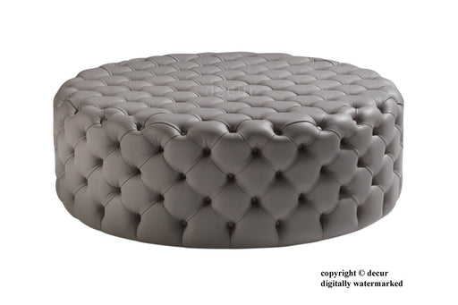 Decur Leather Round Buttoned Ottoman / Footstool - Forge