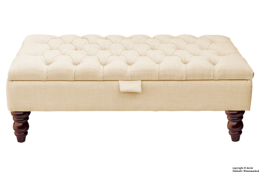 Tiffany Buttoned Linen Footstool - Pearl with Optional Storage