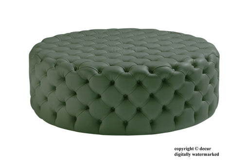 Decur Leather Round Buttoned Ottoman / Footstool - Coppice - Green